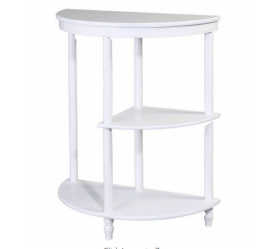 3-Shelf Half Moon Side Table Traditional Accent Living Room Furniture White