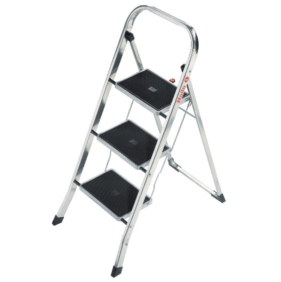 3-Step Aluminum Step Stool with 330 lb. Load Capacity Foldable Ladder