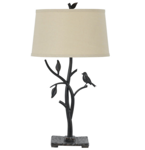 "3-Way Iron 29"" H Table Lamp with Empire Shade Home Decor Black & Beige Finish"