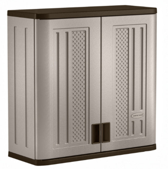 "30.25"" H x 30"" W x 12"" D Storage Cabinet Heavy-Duty Outdoor Furniture Taupe New"