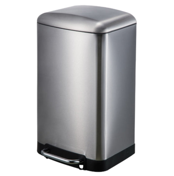 30 Liter Rectangular Trash Can Heavy-Duty Step-On Wastebasket Stainless Steel