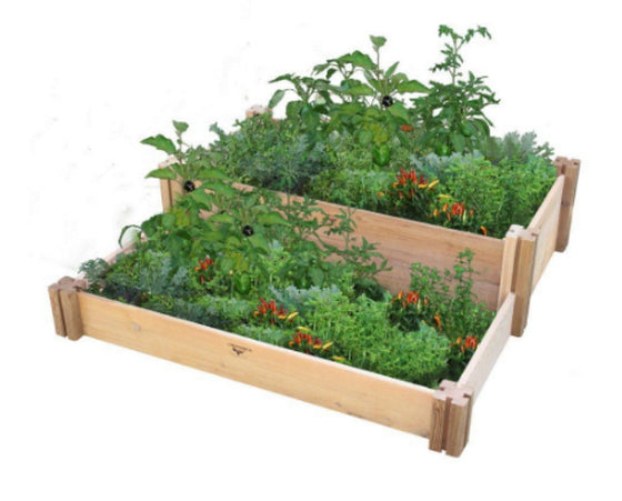 36 In. x 36 In. x 13 In. Multi-Level Rustic Raised Garden Bed Rustic Unfinished