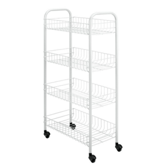 4-Tier Rolling Storage Utility Cart Space Saving Home Office Furniture White