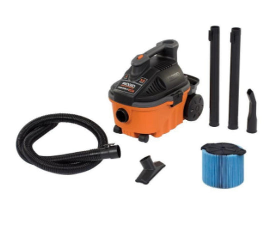4 Gal. Wet/Dry Vacuum 5.0 Peak HP with 20 Ft. Cord Portable Lightweight Cleaner