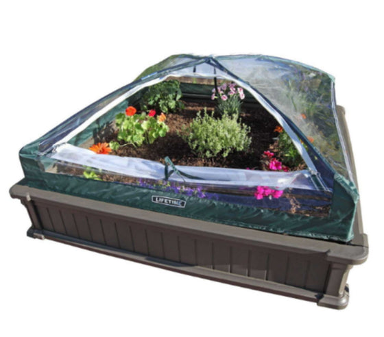 4' x 4' Stackable Raised Garden Bed Kit Square-Shaped Two-Piece Planter Brown