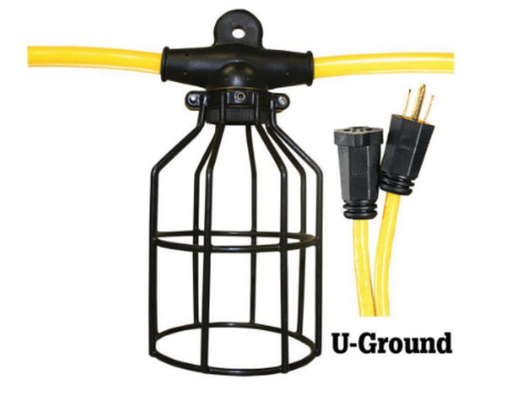 50 ft. 12.3 STW 5-Light Metal Cage Light String - Yellow and Black