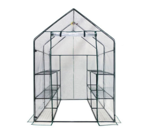 56 In. W x 56 In. D Deluxe Double Walk-In 6-Tier 12 Shelf Portable Greenhouse