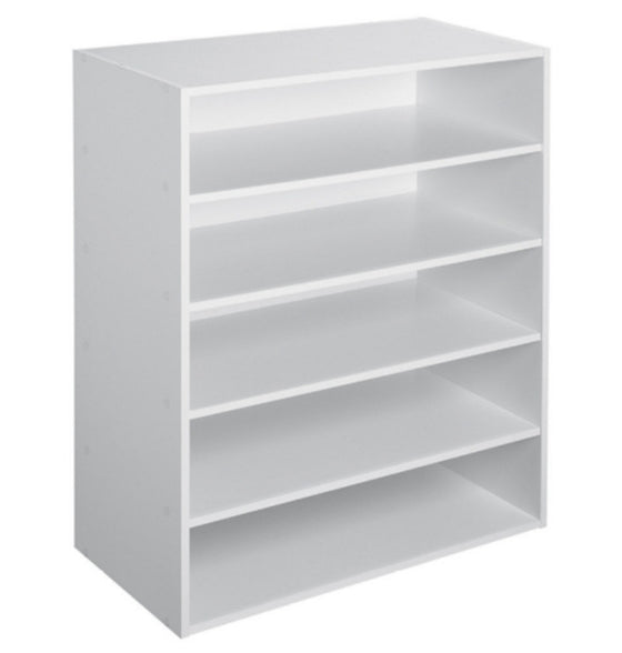 5 Shelf Stackable Organizer Storage Unit Bookcase Home Office Furniture White