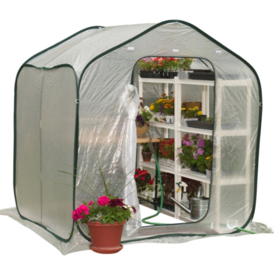 6 Ft. W x 6 Ft. D Polyethylene Greenhouse Portable Lightweight Garden Decor