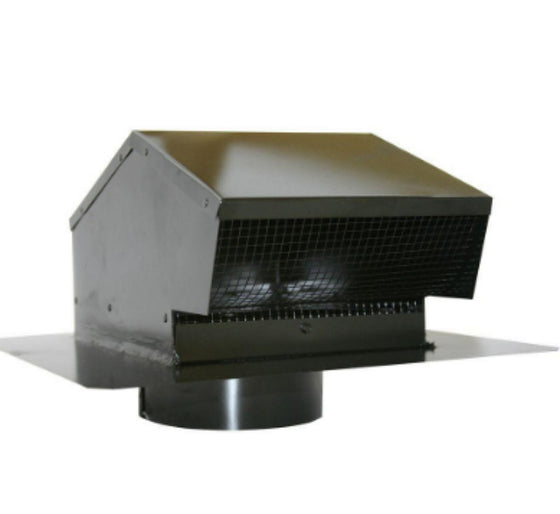 6 Inch Galvanized Flush Roof Cap Removable Screen with 6 Inch Collar Black