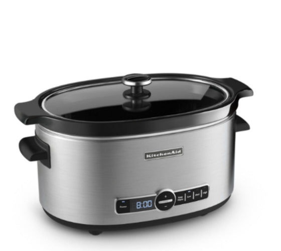 6 Qt. Oval-Shaped Slow Cooker Stainless Steel with Ceramic Insert & Glass Lid