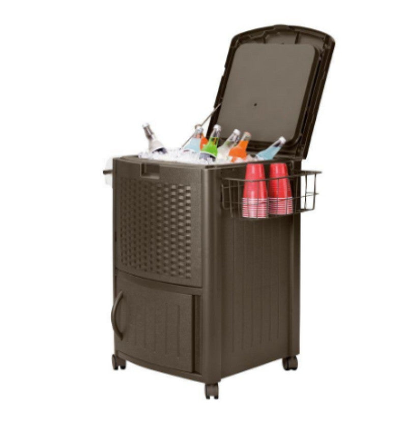 77 qt. Resin Wicker Cooler with Cabinet Stylish Outdoor Cooler with Compartment