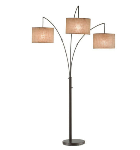 82 Inch Bronze Arc Lamp Modern Home Decor Adjustable with Three Fabric Shades