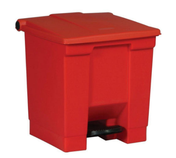 8 Gal. Red Fire-Safe Step-On Trash Can Heavy-Duty Plastic Hands-Free Garbage Bin