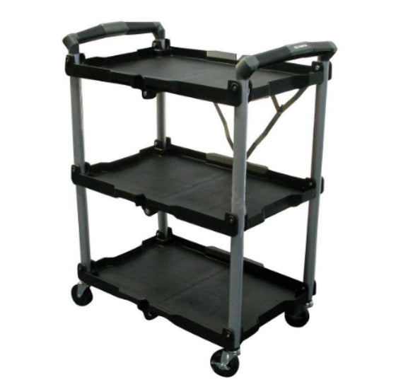 8 Inch 3-Shelf Collapsible 4-Wheeled Multi-Purpose Utility Cart Foldable Black