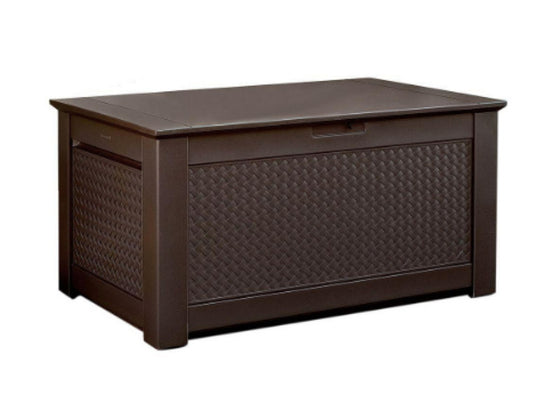 93 Gallon Patio Storage Bench Deck Box Weather Resistant Furniture Brown