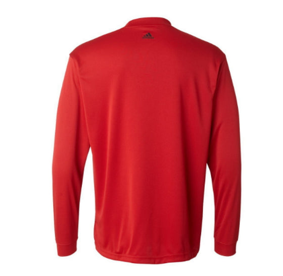 A104 Adidas ClimaLite Tech Long-Sleeve Mock Shirt - University Red - Large