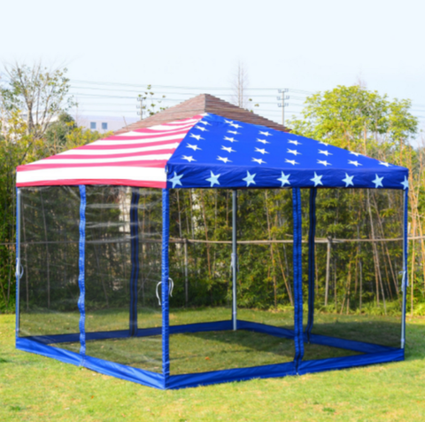 Pop-Up Canopy American Flag Print Party Tent with Mesh Wall Water-Resistant