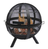 Image of Ball of Fire Steel Bowl Fire Pit with Cover Outdoor Campfire Fireplace Black