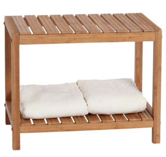 Bamboo Storage Spa Shower Bench Bathroom Furniture Handcrafted Oak Finish