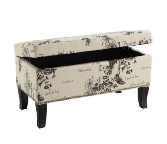Botanical Printed Linen Fabric Storage Ottoman Bedroom Furniture Cushioned Top