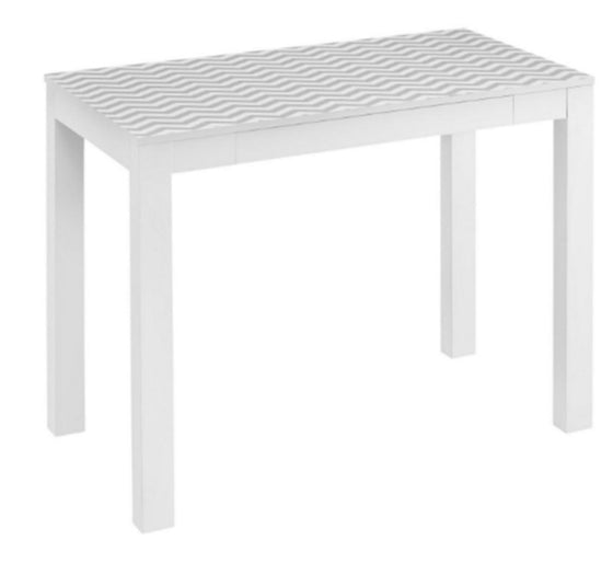 Chevron Pattern Writing Desk Home Office Furniture White & Gray Finish