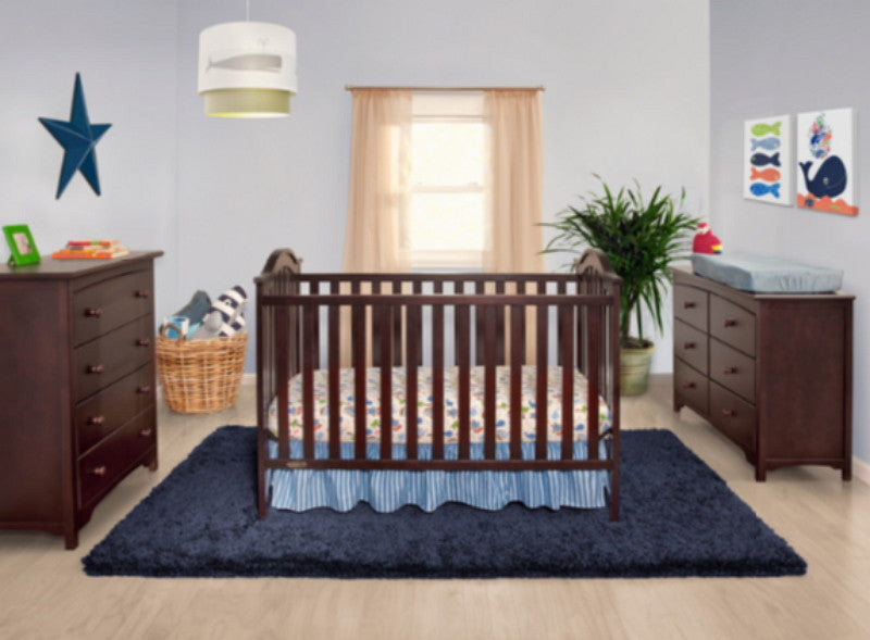 Classic 3-in-1 Convertible Crib Toddler Day Bed Fixed-Side Espresso Finish