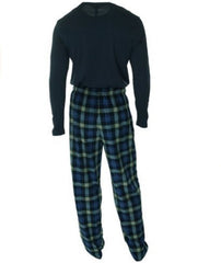 Club Room Men's Fleece 2 Piece Pajama Set Blue McDonald with Navy Top- Large