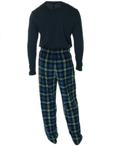 Club Room Men's Fleece 2 Piece Pajama Set Blue McDonald with Navy Top- X-Large