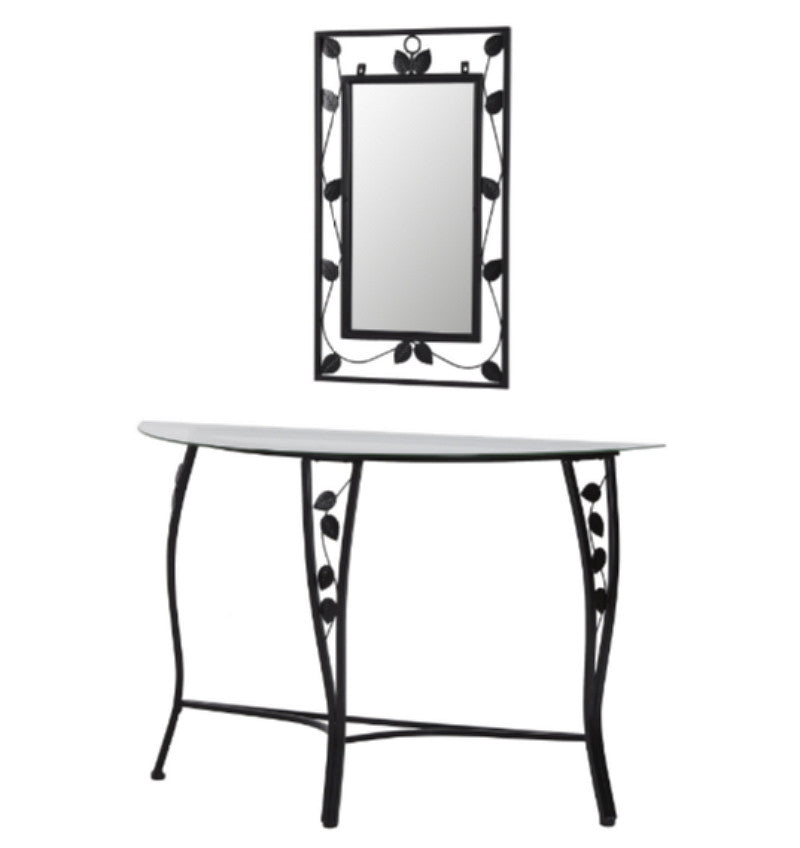 Console Table & Mirror Set Tempered Glass Entryway Furniture Black Finish