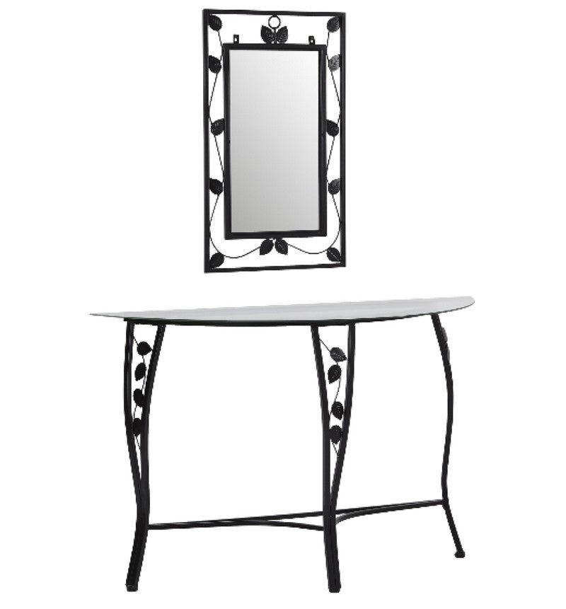... Console Table U0026 Mirror Set Tempered Glass Entryway Furniture Black  Finish ...