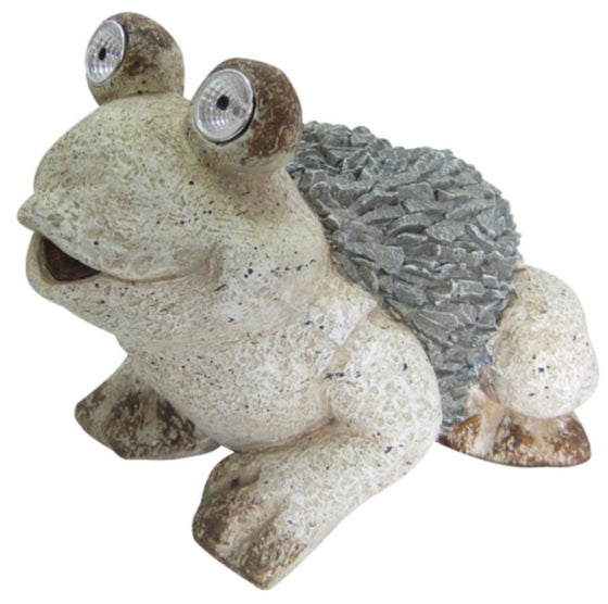 Contemporary Solar Frog Statue Garden Lawn Decor Polystone Gray & White Finish
