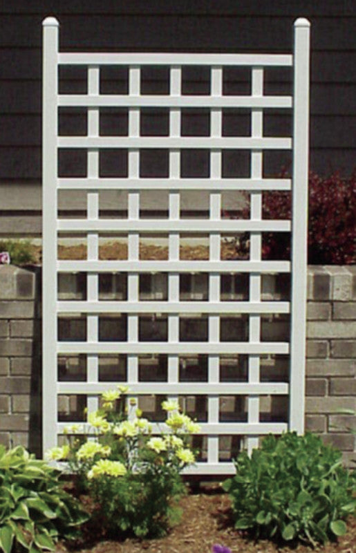 country garden trellis free standing outdoor decor white matte finish - Country Outdoor Decor