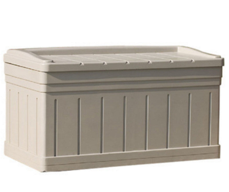 Deluxe 129 Gallon Deck Box Ultra Large Storage Box Outdoor Bench Light Taupe