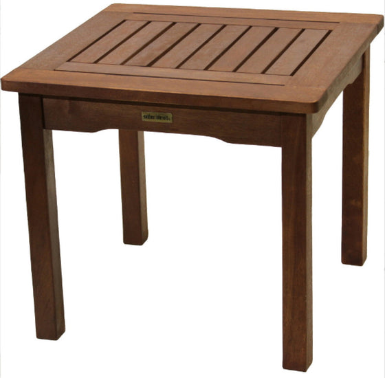 Eucalyptus End Table Traditional Patio Garden Furniture Umber Brown Finish