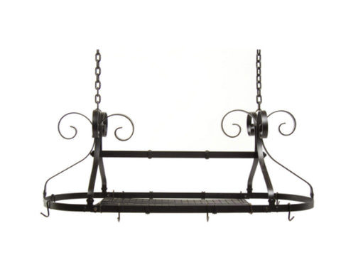 Expandable Metal Oval Hanging Pot Rack Kitchen Furniture Black Finish