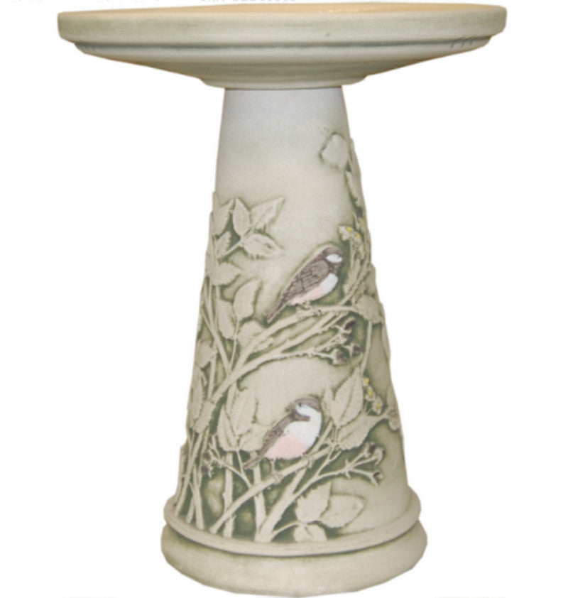 Hand-Painted Chickadees Clay Bird Bath American-Made Garden Decor
