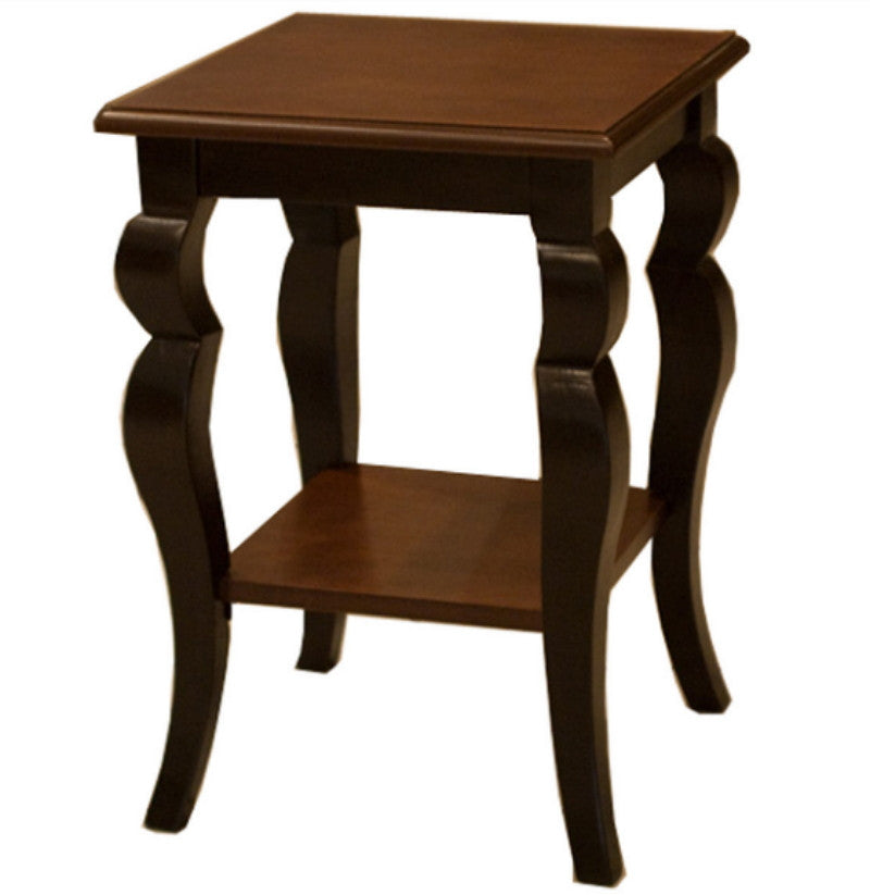 Traditional End Table with Lower Shelf Home Furniture Cherry Chocolate Finish