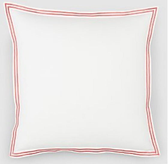 "Hudson Park Italian Percale Euro Sham 28"" x 28"" White with Pink Satin Stitching"