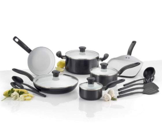 Initiatives Ceramic 16 Piece Cookware Set Nonstick Dishwasher Safe Black