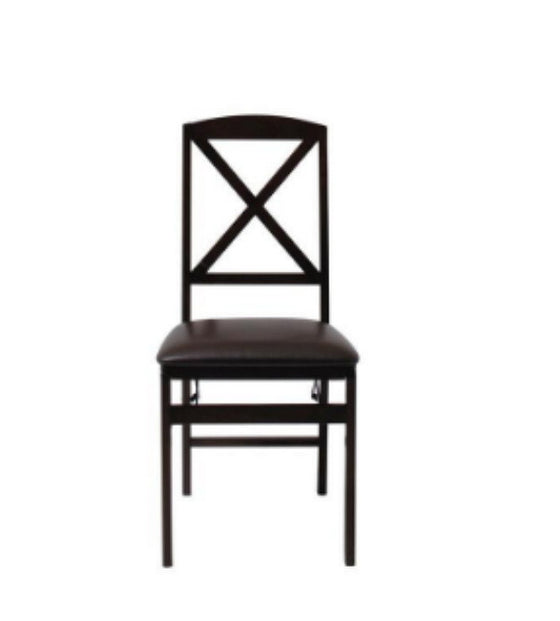 Ladder Back Wood Folding Chair Set of Two Dining Room Furniture Espresso Finish