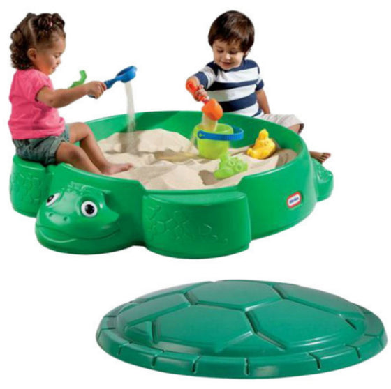 Little Tikes Turtle Round Sandbox High-Quality Removable Lid Outdoor Use Green