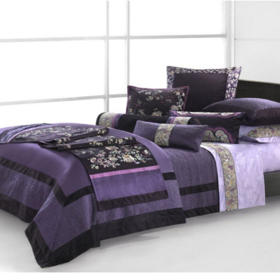 Natori Imperial Palace Queen Duvet Cover Luxurious Bed Sheet 92 x 96 - Purple