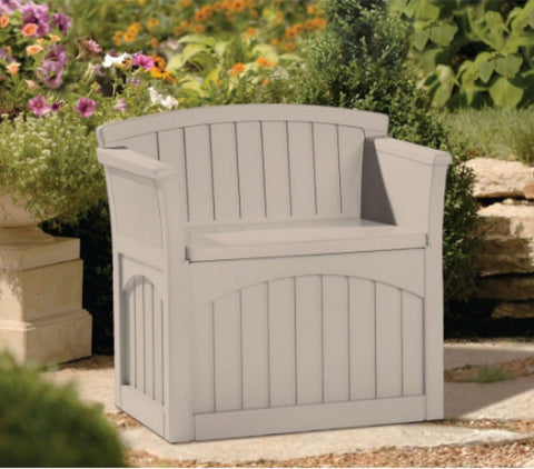 Patio Storage Seat Dual-Purpose Bench 31 Gal. Outdoor Furniture Neutral Taupe