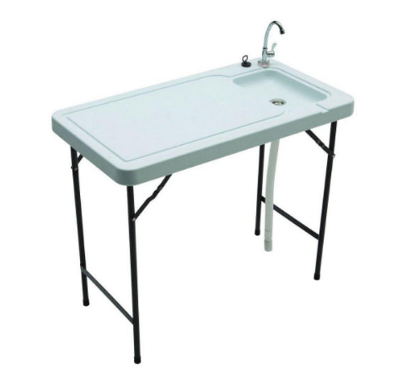 Portable Outdoor Fish and Game Table with Quick Connect Stainless Steel Faucet