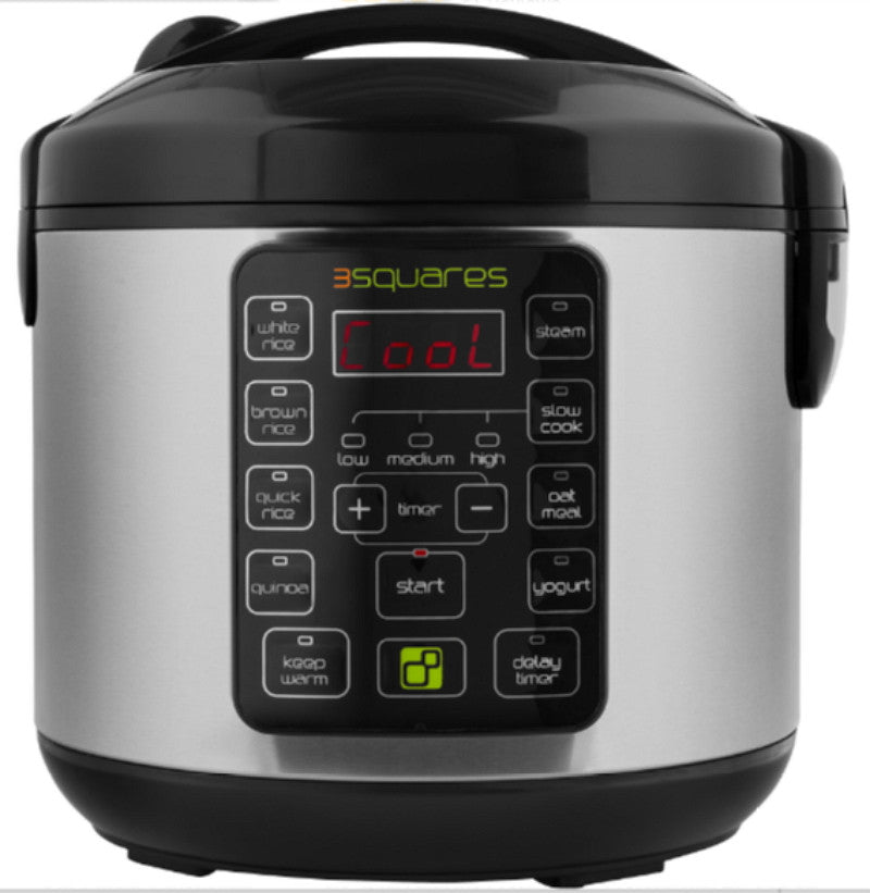 Programmable Rice Cooker Slow Cooker Food Steamer Yogurt Maker Stainless Steel