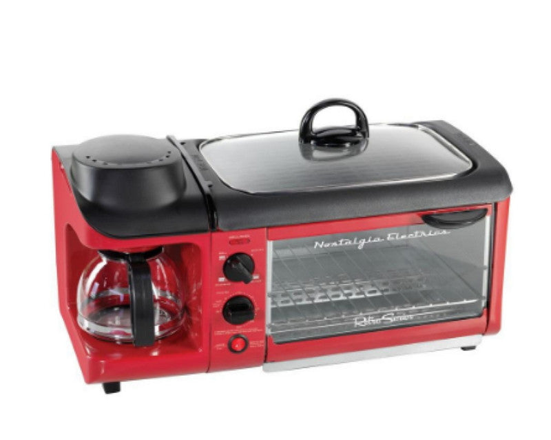 Retro Series 4-Slice 3-in-1 Breakfast Station Toaster in Red Coffee Maker Brewer