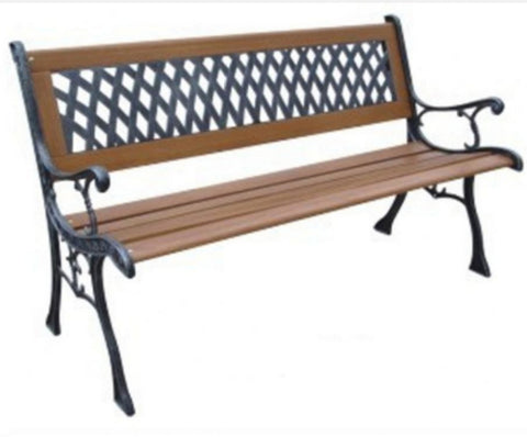 Rust-Free Cast Iron Park Bench Traditional Outdoor Furniture Weather Resistant
