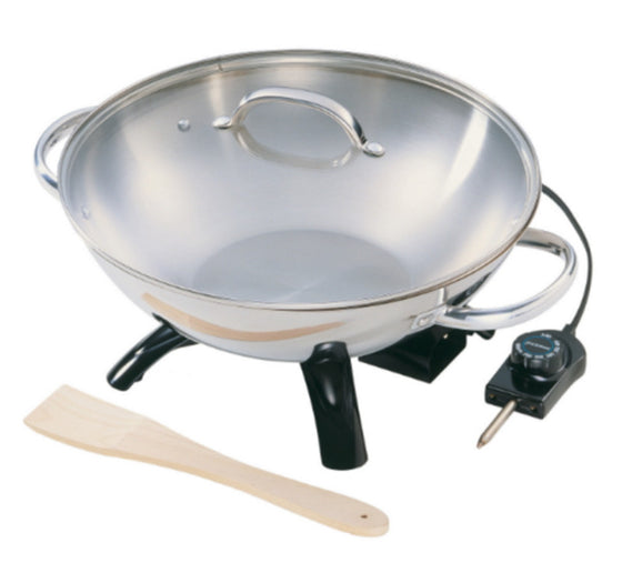 Stainless Steel Wok with Transparent Lid Dishwasher Safe Cookware