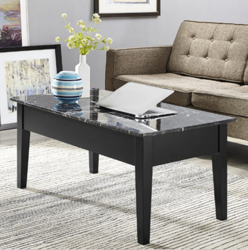 Faux Marble Lift-Top Coffee Table Storage Compartment Home Furniture Black